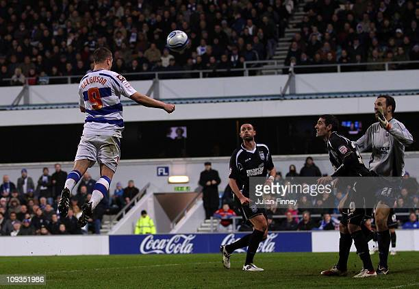 Heidar Helguson of QPR scores a header and their second goal during the npower Championship match between Queens Park Rangers and Ipswich Town at...
