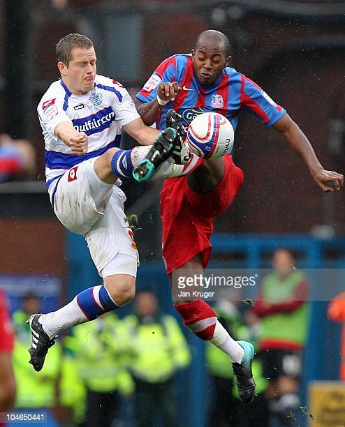 Heidar Helguson of Queens Park Rangers battles in the air with Anthony Gardner of Crystal Palace during the npower Championship match between Crystal...