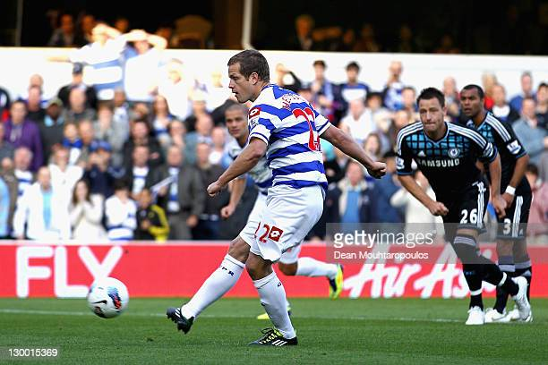 Heidar Helguson of Queens Park Rangers scores from a penalty kick during the Barclays Premier League match between Queens Park Rangers and Chelsea at...