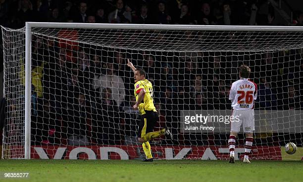 Heidar Helguson of Watford celebrates after scoring his team's 20 goal during the CocaCola Championship match between Watford and Sheffield United at...