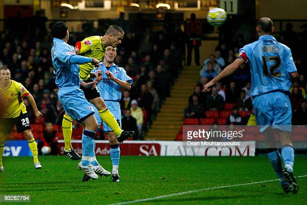 Heidar Helguson of Watford heads in the second goal of the game during the Coca Cola Championship match between Watford and Scunthorpe United at...