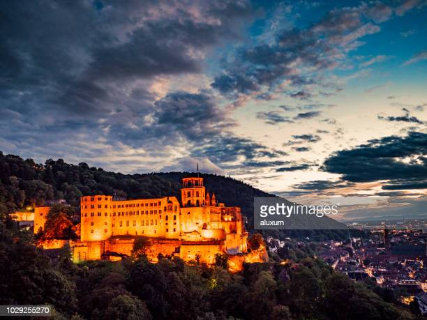 heidelberg castle and town at night - heidelberg stock photos and pictures