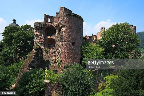 Heidelberg Castle castle ruin defence tower castle tower Kraut tower also named Pulver tower and Gesprengter Turm