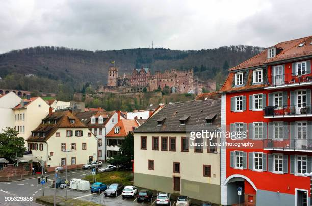 heidelberg palace sits high on the hill - heidelberg stock photos and pictures