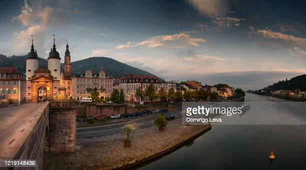 heidelberg panorama with old bridge at dusk, baden-wurttemberg, germany - baden württemberg stock pictures, royalty-free photos & images
