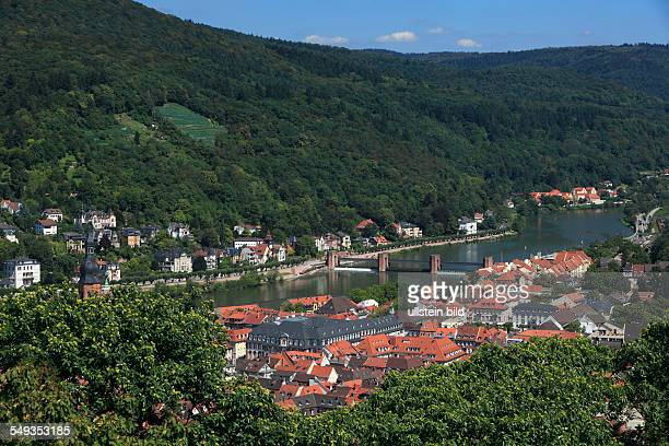 Heidelberg panoramic view across the old town to the Neckar Neuenheim and the Heiligenberg city hall double lock lock river landscape landscape