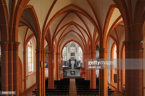 Heidelberg St Peter's Church evangelic church Late Gothic interior view nave choir altar pillars columns vault