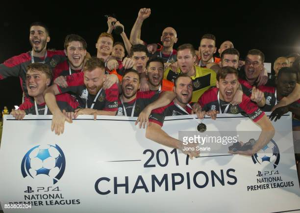 Heidelberg United FC celebrate the win after the National Premier Leagues Grand Final match between the Brisbane Strikers and Heidelberg United FC at...