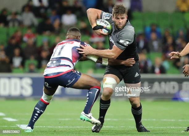 Heiden BedwellCurtis of the Crusaders runs with the ball during the round 14 Super Rugby match between the Rebels and the Crusaders at AAMI Park on...