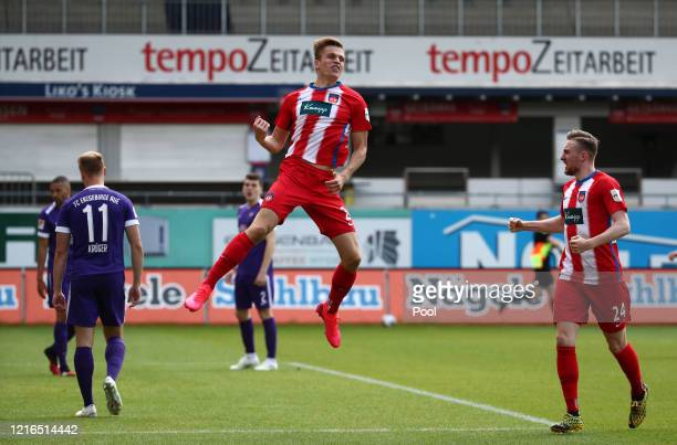 Heidenheim's David Otto celebrates after he scores his sides first goal during the Second Bundesliga match between 1. FC Heidenheim 1846 and FC...