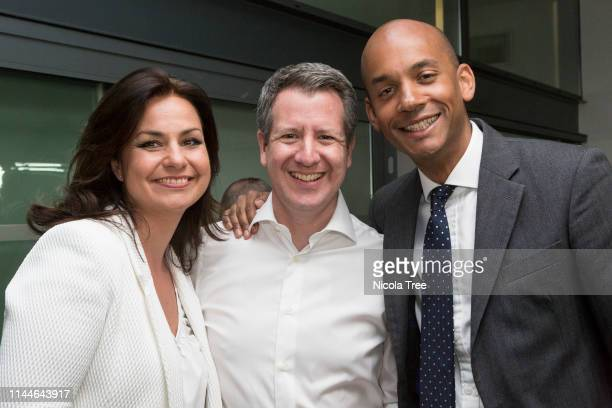 Heidi Allen Chris Leslie and Chuka Umunna at the launch of Change UK The Independent group's European election campaign at We The Curious on April 23...