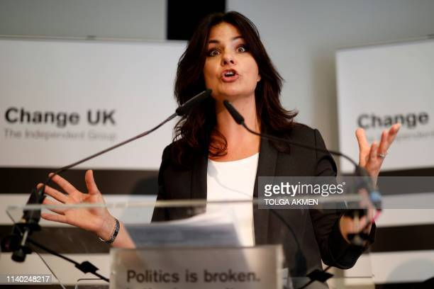 Heidi Allen interim leader of the new proEU political party Change UK takes part in a European election rally on April 30 2019 in London