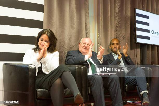 Heidi Allen Mike Gapes and Chuka Umunna at Change UK The Independent Group's West Midlands election rally on May 10 2019 in Birmingham United Kingdom