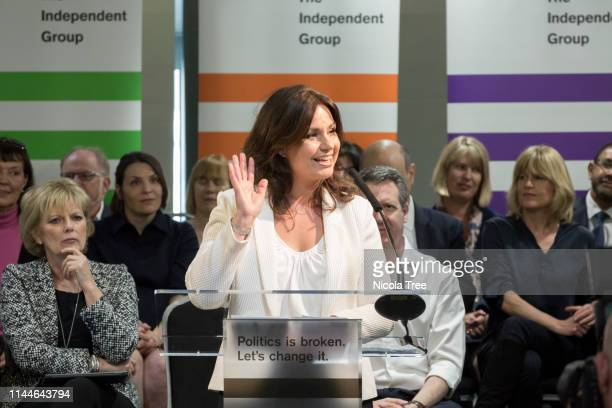 Heidi Allen MP at the launch of Change UK The Independent Group's European election campaign at We The Curious on April 23 2019 in Bristol England...