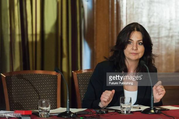 Heidi Allen MP attends a press conference in central London following her resignation earlier today from the Conservative Party alongside Anna Soubry...