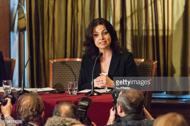 Heidi Allen MP speaks at a press conference in central London following her resignation earlier today from the Conservative Party alongside Anna...