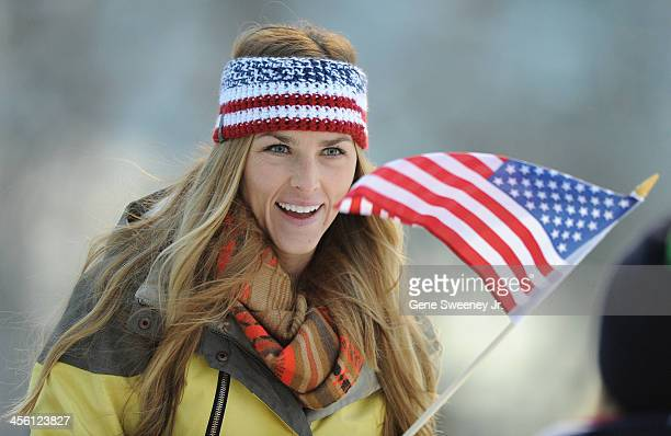 Heidi Allen, sister of Women's Luge racer Kate Hansen of the United States, cheers on her sister during the Viessmann Luge World Cup event at Utah...