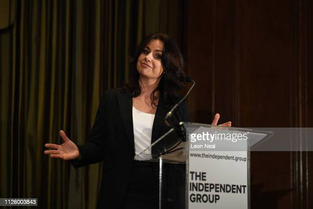 Heidi Allen speaks to the media during a press conference after resigning from the Conservative Party along with 2 other MPs on February 20 2019 in...