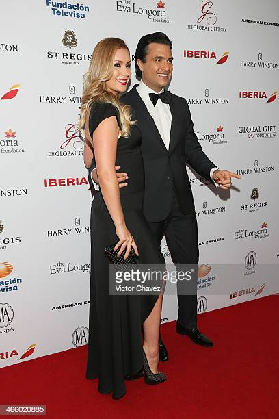 Heidi Balvanera and Jaime Camil attend the Global Gift Gala Mexico City red carpet at St Regis Hotel on January 30 2014 in Mexico City Mexico