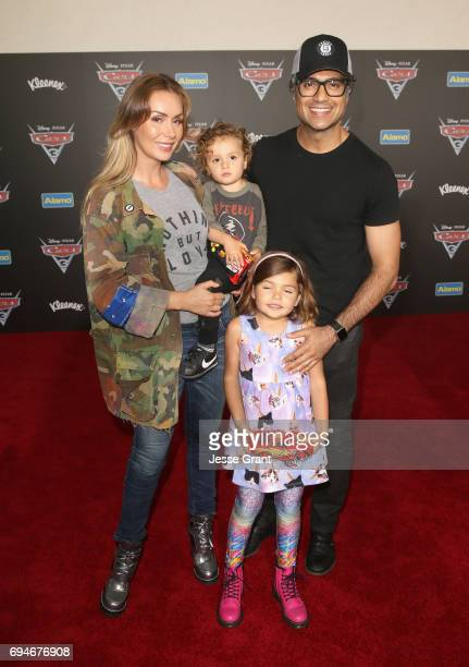 "Heidi Balvanera Jaime Camil III Elena Camil and actor Jaime Camil pose at the World Premiere of Disney/Pixar's ""Cars 3 at the Anaheim Convention..."