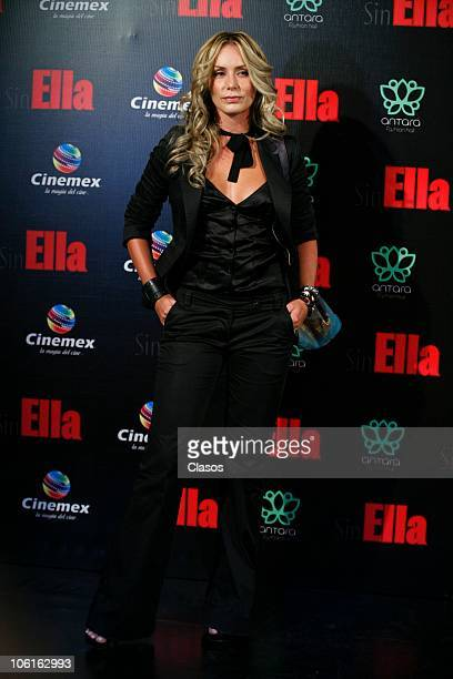 Heidi Balvanera poses at the red carpet of Sin Ella movie premiere at Plaza Antara on October 26 2010 in Mexico City Mexico
