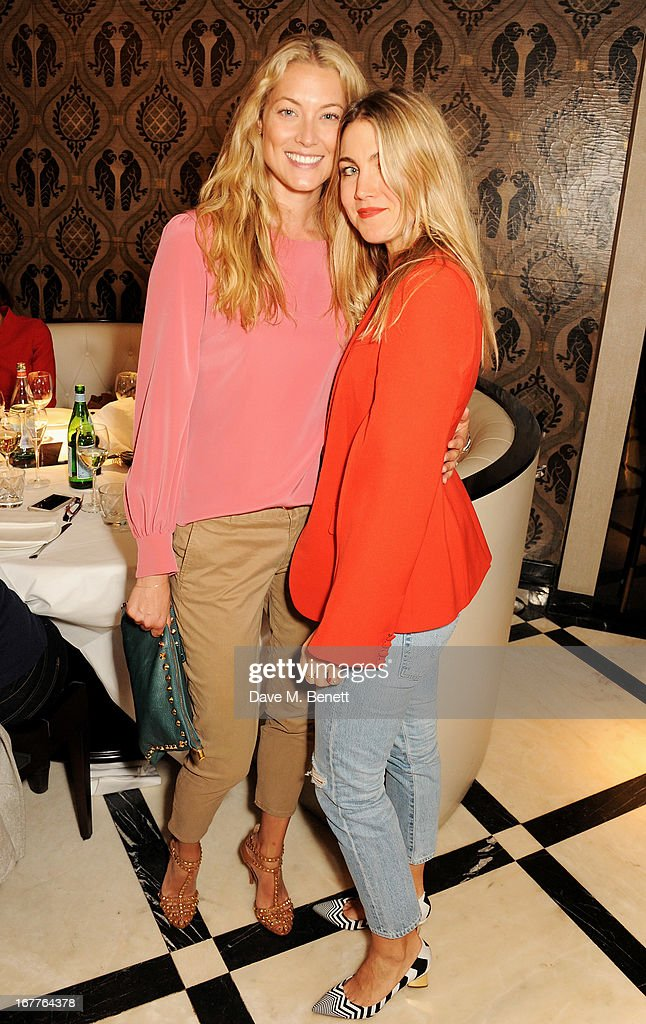 Heidi Bishop (L) attends the launch of Cash & Rocket, in aid of the (Red) Rush to Zero campaign, at Banca Restaurant on April 29, 2013 in London, England.