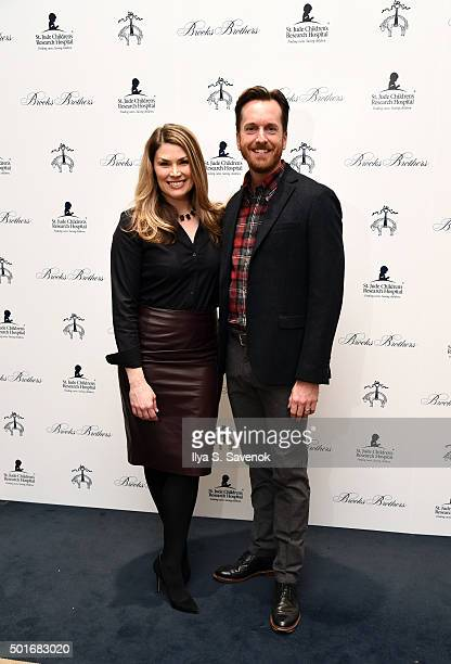 Heidi Blickenstaff and Matthew Wall of Broadway's Something Rotten attend Brooks Brothers holiday celebration with St Jude Children's Research...