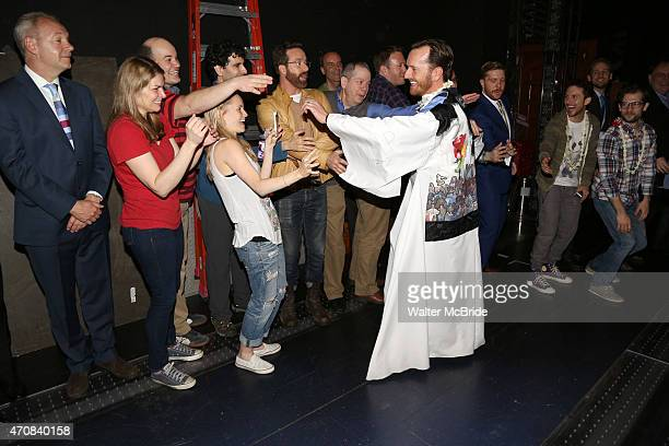 Heidi Blickenstaff Kate Reinders John Cariani Peter Bartlett with Matt Wall during the 'Something Rotten' Actors' Equity Gypsy Robe Ceremony honoring...