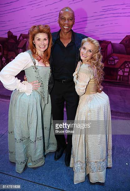 Heidi Blickenstaff RuPaul and Kate Reinders pose backstage at the hit musical Something Rotten on Broadway at The St James Theatre on March 10 2016...