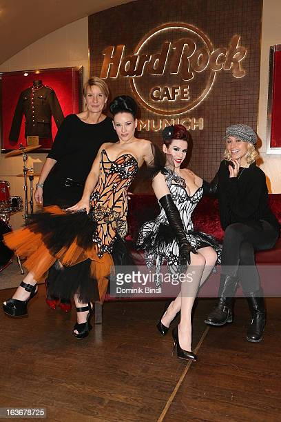 Heidi Dentzer Eden Lily of The Valley and Verena Kerth attend the opening of the exhibition Hard Rock Couture Music Inspired Fashion at the Hard Rock...
