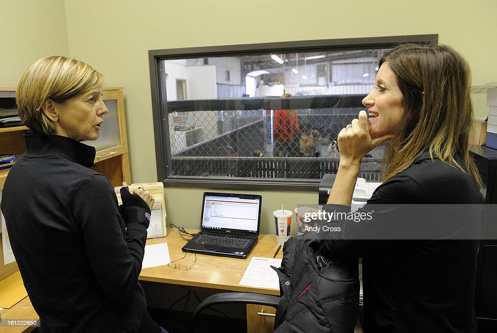 BOULDER, CO-- Heidi Ganahi, right, founder of Camp Bow Wow, talks with Boulder Camp Bow Wow franchise owner, Sue Ryan, left, in Boulder Thursday afternoon. Andy Cross, The Denver Post : News Photo