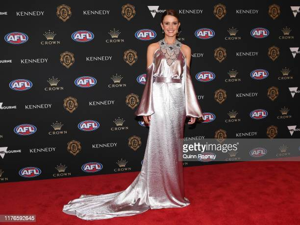 Heidi Higgins wife of Shaun Higgins of the Kangaroos arrives ahead of the 2019 Brownlow Medal at Crown Palladium on September 23 2019 in Melbourne...