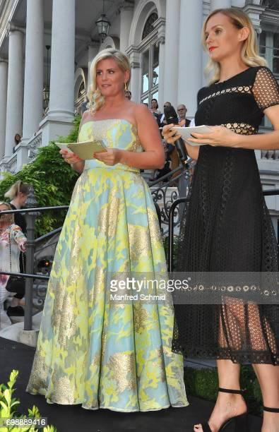 Heidi Khadjawi-Nouri and Mirjam Weichselbraun speak to the audience during the Golden Panther Award 2017 at Palais Coburg on June 20, 2017 in Vienna,...