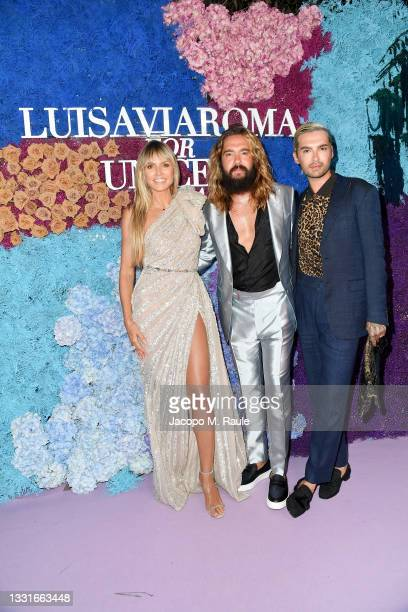 Heidi Klu, Tom Kaulitz and Bill Kaulitz attend the LuisaViaRoma for Unicef event at La Certosa di San Giacomo on July 31, 2021 in Capri, Italy.