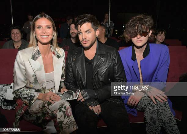 Heidi Klum Adam Lambert and Austin Kolbe attend the Wolk Morais Collection 6 Fashion Show at The Hollywood Roosevelt Hotel on January 17 2018 in Los...