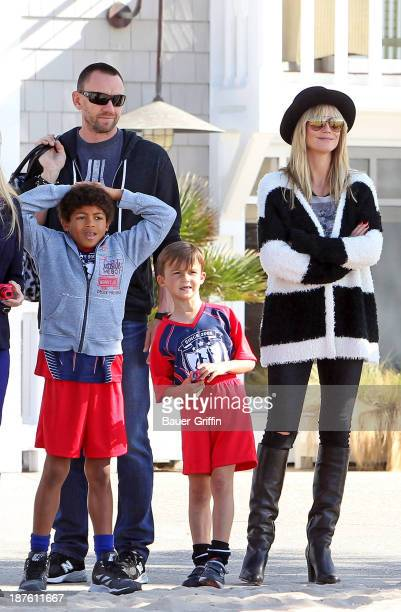 Heidi Klum along with her boyfriend Martin Kristen and son Henry Samuel are seen on November 10 2013 in Los Angeles California