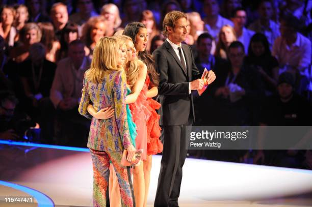 Heidi Klum Amelie Klever Jana Beller Rebecca Mir and Thomas Hayo watch during the finalists show of 'Germany's Next Topmodel' at the LanxessArena on...