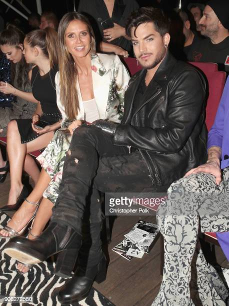 Heidi Klum and Adam Lambert attend the Wolk Morais Collection 6 Fashion Show at The Hollywood Roosevelt Hotel on January 17 2018 in Los Angeles...