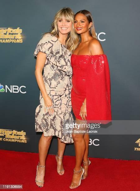 "Heidi Klum and Alesha Dixon attend the premiere of NBC's ""America's Got Talent: The Champions"" Season 2 at Sheraton Pasadena Hotel on October 10,..."