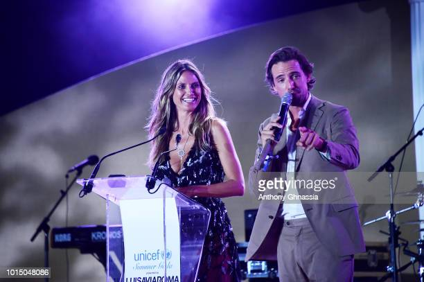 Heidi Klum and Alex attend the Unicef Summer Gala Presented by Luisaviaroma afterparty at Villa Violina on August 10 2018 in Porto Cervo Italy