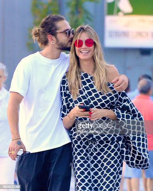 Heidi Klum and boyfriend Tom Kaulitz show some PDA while out and about in Manhattan on July 2 2018 in New York City