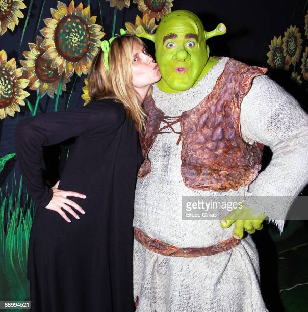 """Heidi Klum and Brian d'Arcy James as """"Shrek"""" pose backstage at """"Shrek:The Musical"""" on Broadway at The Broadway Theater on July 11, 2009 in New York..."""