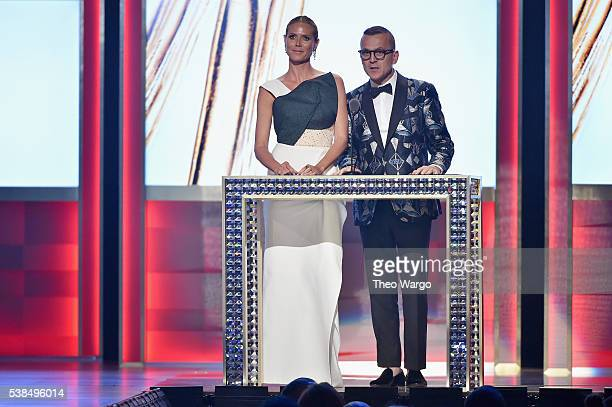 Heidi Klum and CFDA President and CEO Steven Kolb speaks onstage at the 2016 CFDA Fashion Awards at the Hammerstein Ballroom on June 6 2016 in New...