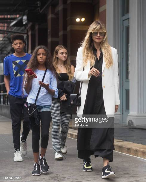 Heidi Klum and children Henry, Lou and Helene are seen on June 19, 2019 in New York City.