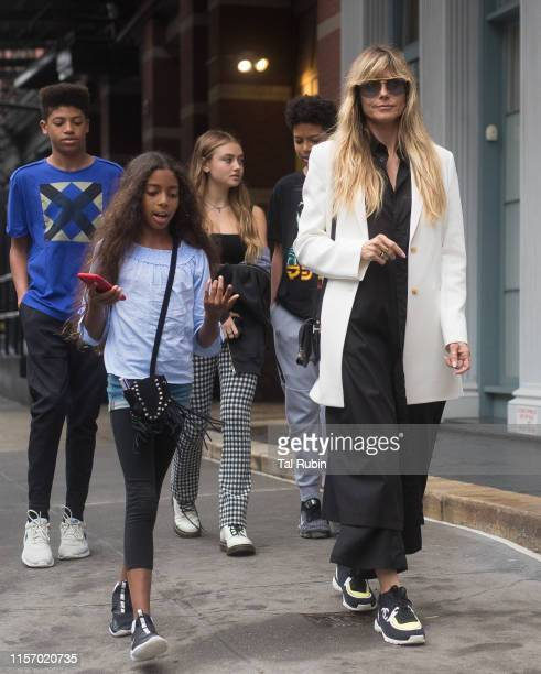 Heidi Klum and children Henry, Lou, Helene and Johan are seen on June 19, 2019 in New York City.
