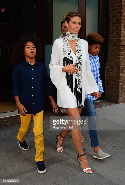 Heidi Klum and children Johan Samuel and Henry Samuel are seen in Soho on June 30 2016 in New York City