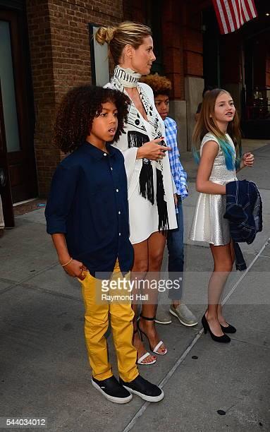 Heidi Klum and children Johan Samuel Henry Samuel and Leni Samuel are seen in Soho on June 30 2016 in New York City