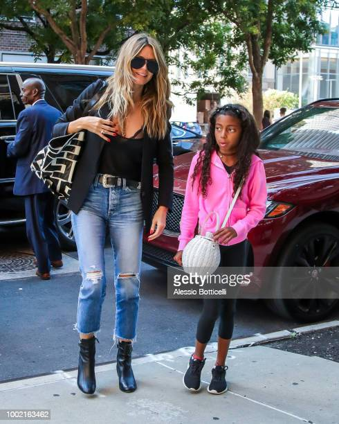 Heidi Klum and daugher Lou Samuel are seen on July 19, 2018 in New York, New York.