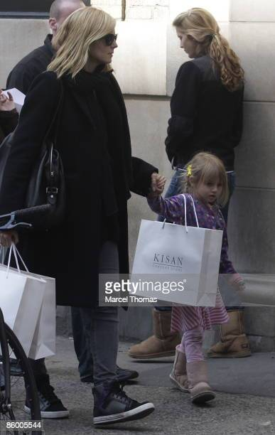 Heidi Klum and daughter Leni Klum walk through the streets of Manhattan on April 16 2009 in New York City