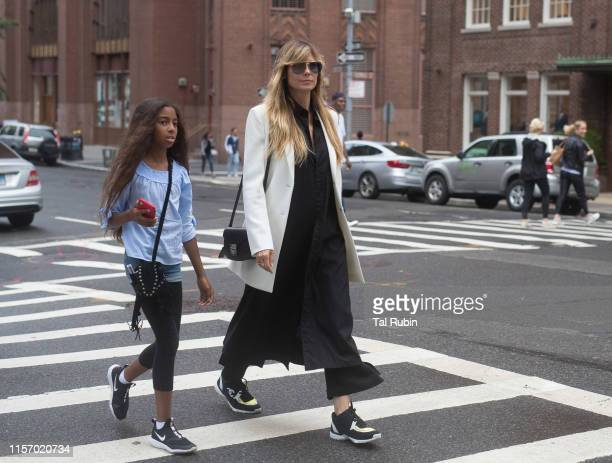Heidi Klum and daughter Lou Samuel are seen on June 19, 2019 in New York City.
